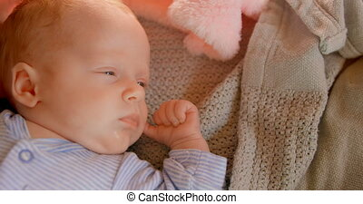 Baby boy sleeping at home 4k - Close-up of baby boy sleeping...