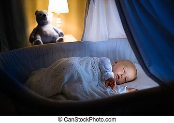 Baby boy sleeping at night