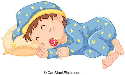 Baby boy sleeping with pacifier on