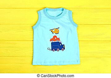Baby boy sleeveless turquoise t-shirt.