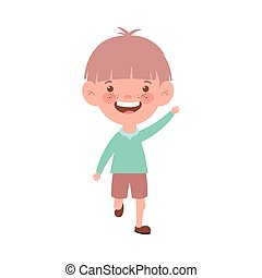baby boy standing smiling on white background