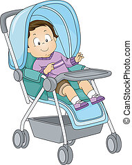 Baby Boy Stroller - Illustration of a Toddler Sitting in a...
