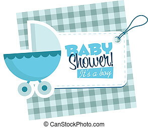 Baby Boy Stroller Invitation Card