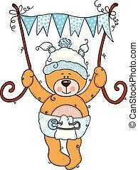 Baby boy teddy bear flying holding a blue flag banner