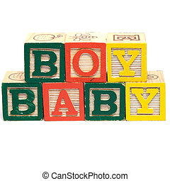 Baby Boy - The words baby boy spelled in baby blocks, ...