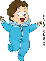 Illustration of a Happy Baby Boy Wearing a Winter Onesie