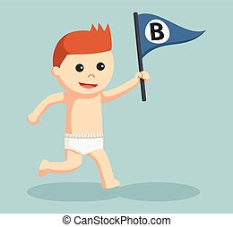 baby boy with b letter flag