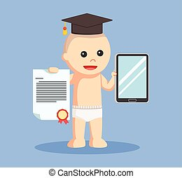 baby boy with bachelor award and tablet