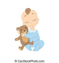 Baby boy with bear.