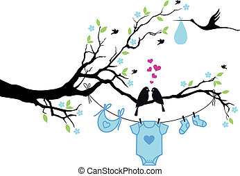 baby boy with birds on tree, vector - cute baby shower...