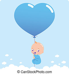 Baby boy with blue heart shaped balloon. Vector illustration