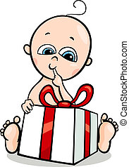 baby boy with gift cartoon illustration