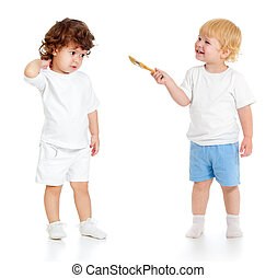 Baby boy with paint brush and girl standing full length...