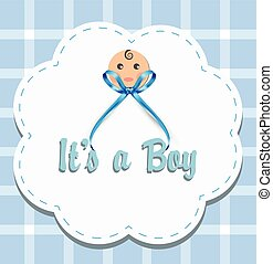 Vector it's a boy, baby boy with ribbon design card with text