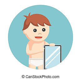 baby boy with tablet in circle background