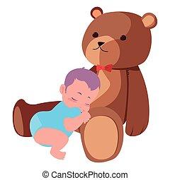 baby boy with toy cute bear
