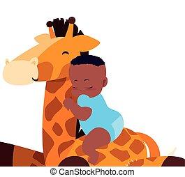 baby boy with toy giraffe