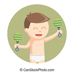 baby boy with toys in circle background