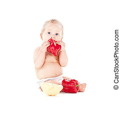 baby boy with vegetables - picture of baby boy in diaper...