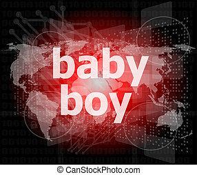 baby boy word on a virtual digital background