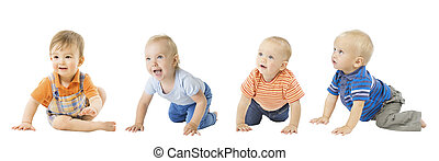 Baby Boys Group, Crawling Infant Kids, Toddler Children Isolated over White