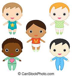 Baby boys - Six different happy baby boys.