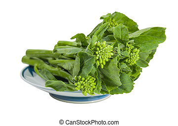 Baby broccoli on a plate.
