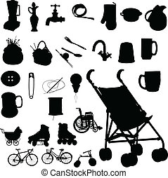 baby buggy and stuff vector silhouettes