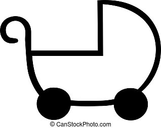Baby buggy outline icon
