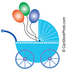 baby buggy with balloons - blue baby buggy with colorful...
