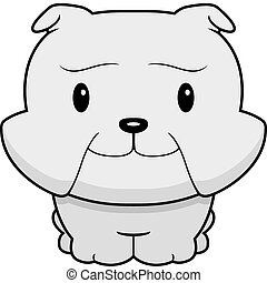 Baby Bulldog - A happy cartoon baby bulldog standing and...