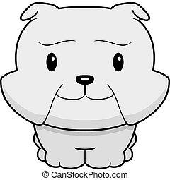 Baby Bulldog - A happy cartoon baby bulldog standing and...