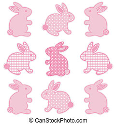 Baby bunny rabbits in pastel pink gingham and polka dots for baby books, scrapbooks, albums, spring, Easter. EPS8 compatible.
