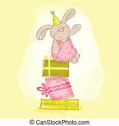 Baby Bunny Birthday Illustration - in vector