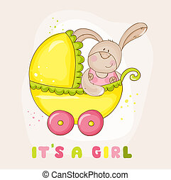 Baby Bunny in Carriage - for Baby Shower or Arrival Card - in vector