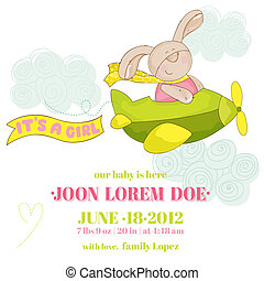 Baby Bunny on a Plane - Baby Shower or Arrival Card - in vector