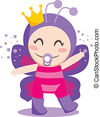 Baby Butterfly - Cute sweet baby girl wearing queen...