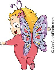 Baby Butterfly - Illustration Featuring a Baby Girl Wearing ...