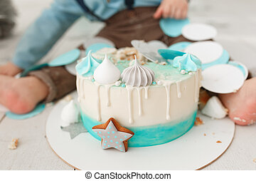 Fantastic Cake Smash Aftermath Baby Pink Two Tier Birthday Cake Smashed By Funny Birthday Cards Online Aeocydamsfinfo