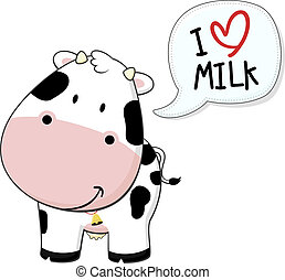 baby calf i love milk - cute baby cow illustration isolated...