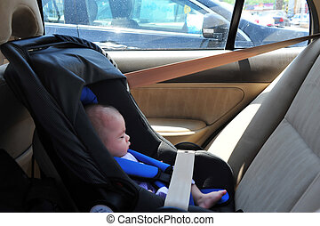 Baby Car Seat - A baby is left in a car seat