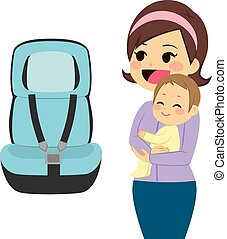 Baby Car Seat - Beautiful young mother holding baby next to...