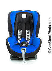 baby car seat, blue color, isolated on white