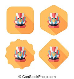Baby car seat flat icon with long shadow, eps10
