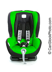 baby car seat, green color, isolated on white