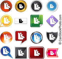 Baby Car Seat Icon Set - Baby car seat icon set isolated on...