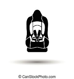 Baby car seat icon. White background with shadow design....