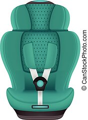 Baby Car Seat Isolated On A White Background. Realistic Vector Illustration.