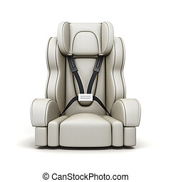 Baby car seat on white background. 3d rendering