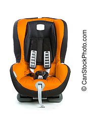 baby car seat, orange color, isolated on white
